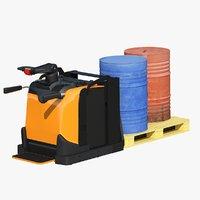 electric pallet jack cargo 3D model