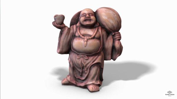 low-poly buddha 3D model
