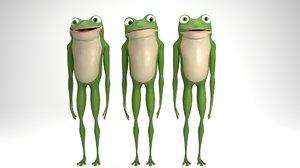 rigged cartoon frog 3D model