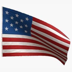 3D model american flag 13 stars