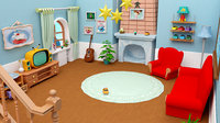 Cartoon living room house