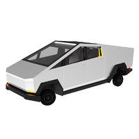 3D cybertruck cartoon car