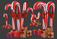 Christmas candy cane with gifts 3D model
