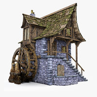 medieval watermill 3D model
