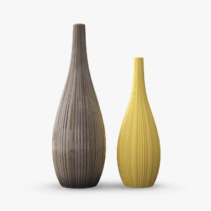 3D model tall ceramic flower vases
