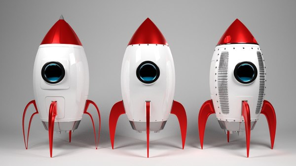 cartoon rockets 3D model