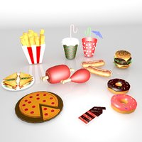 cartoon food pack 3D model