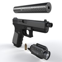 The gun Glock 17 with flashlight, silencer and bullet