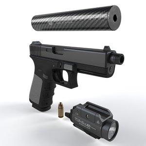 gun silencer flashlight 3D model