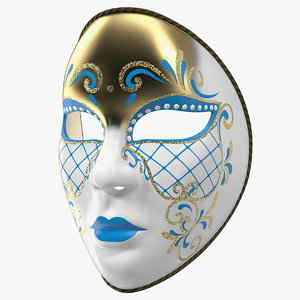 3D blue face carnival mask model