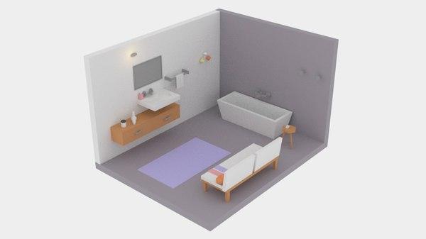 3D low-poly cartoon bathroom pack model