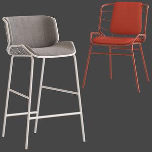 truba met stool chair 3D model