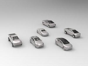 tesla cars polys 3D