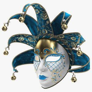 3D blue venetian face carnival