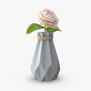 3D diamond shape vase flower