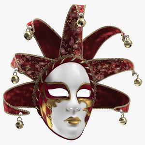 red venetian face carnival 3D model