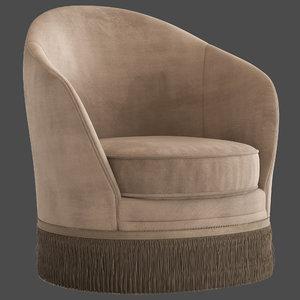 globewest kennedy fringed armchair 3D model