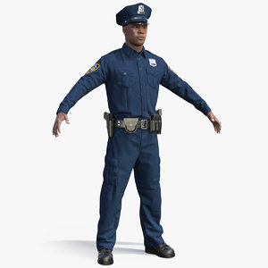 3D african american nypd police model