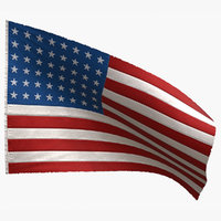 american flag 48 stars 3D model