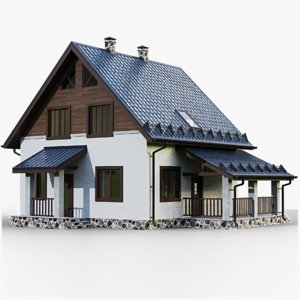 3D gameready house 4 type model