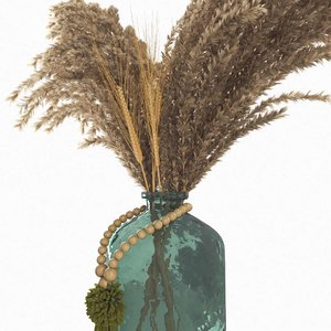 3D dried pampas glass bottle