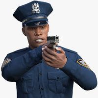 african american nypd police 3D model