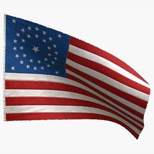 american 34 stars flag 3D model