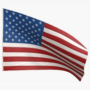 3D model american flag 50 stars