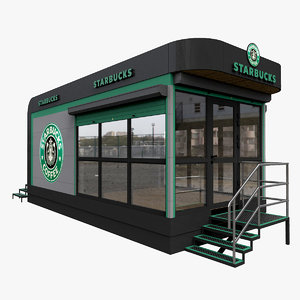 3D starbucks mobile cafe model