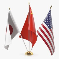 3D table flags usa china model