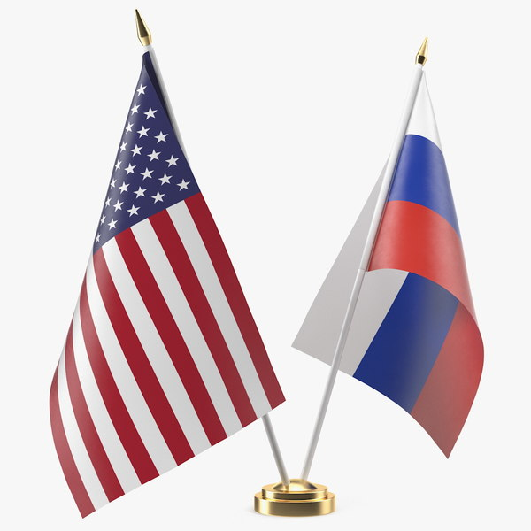 table flags usa russia 3D model