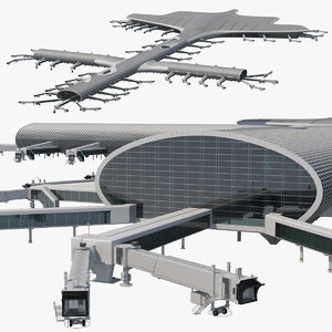 3D terminal international airport model