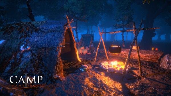 3d camp - props cooking pot model