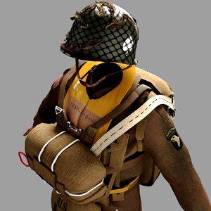 world war 2 paratrooper 3D model