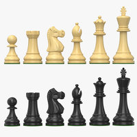 3D model chess pieces set