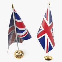 3D table flag united kingdom model