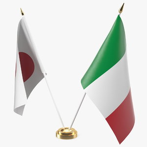 table flags italy japan 3D model