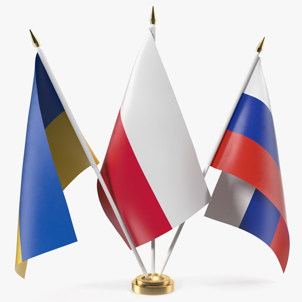 3D table flags russia ukraine