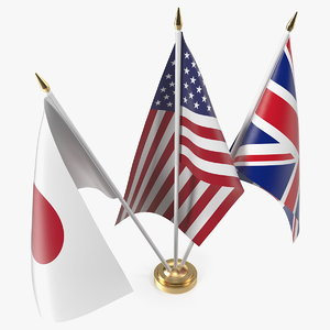 3D model table flags united kingdom