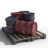 low-poly barrel 3D model