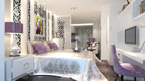 3D bedroom design bed model