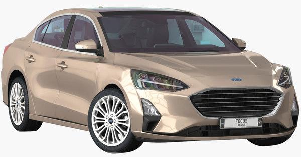 focus sedan 2019 interior 3D model