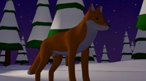 3D cute cartoon fox rig model