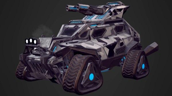 sci-fi military truck pbr 3D model