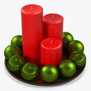 3D red pillar candles xmas
