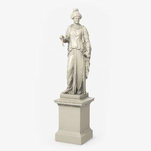 3D statue musician woman