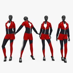 female fitness sport suit 3D