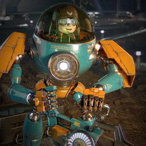 3D pilot boy mecha model