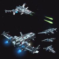 3D pbr modular spaceships v1