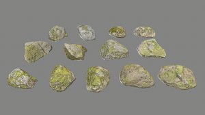 3D realistic pack large rocks model